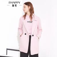 海贝秋款翻领纯色时尚外套 一粒扣大衣女秋上衣
