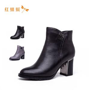 红蜻蜓2018新款时尚醋跟纯色女短靴