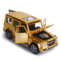盒装1:32奔驰G65越野喷镀土豪金合金车模型声光回力儿童玩具车