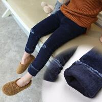 女童加绒牛仔裤 冬季加厚保暖打底裤 破洞休闲长裤外穿童装裤子潮