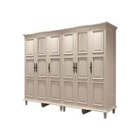 美式四五门衣柜推拉欧式田园衣柜带顶柜衣柜六门衣柜组合 单门
