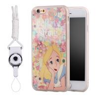 花朵公主iphone6s手机壳挂绳硅胶4.7个性苹果6plus保护套防摔可爱