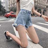夏季韩版蓝色显瘦a字高腰牛仔短裤女宽松网红百搭毛边阔腿热裤潮