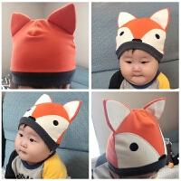 婴儿帽子秋冬纯棉0-3-6个月8新生儿卡通保暖胎帽9-12宝宝护耳帽潮