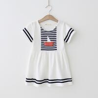 女童连衣裙 2018夏季新款短袖海军风裙子 帆船印花连衣裙棉质