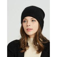 韩版休闲宽松纯色百搭学生针织毛线帽女羊绒双层保暖帽子