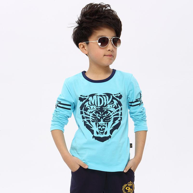 乌龟先森 儿童T恤 男童春季新款韩版小学生长袖上衣中大童棉质打底衫时尚潮流男孩虎头童装单品包邮,支持礼品卡