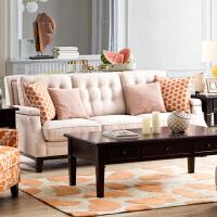 奇居良品 美式客厅家具三人双人单人布艺沙发组合 安缇系列