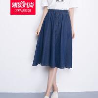 翎影时尚 2016秋季胖MM加大加肥松紧腰牛仔大码半身裙中长裙