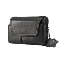 真皮手机腰包穿皮带皮套挂腰间头层牛皮钱包横款男士老人5.5寸6寸 黑色 5.5 至 6寸通用