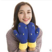 韩版毛线手套女可爱保暖加绒加厚针织手套学生骑车连指手套