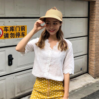 衬衫 女士V领花边灯笼袖蕾丝衬衫2020夏季新款韩版时尚女式洋气短袖女装半袖