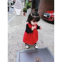 17秋冬新款女宝宝红色连衣裙小女孩无袖毛呢背心裙婴幼儿百搭裙子
