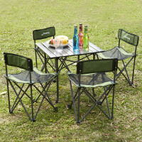 索尔诺户外折叠桌椅组合便携式五件套烧烤自驾游休闲沙滩桌椅套装