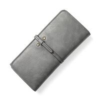 女士钱包女长款新款韩版时尚抽带多卡位油蜡皮女式钱夹 深灰色 深灰