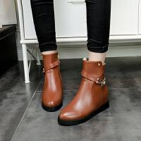 彼艾2017秋冬季新款英伦平底短靴女靴子 内增高皮带扣马丁靴骑士靴女短靴子