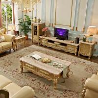 欧式电视柜客厅家具实木家具地柜别墅雕花影视柜贵族金色1 组装