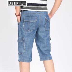 JEEP吉普男士牛仔短裤男装夏季薄款中腰七分裤工装牛仔裤大码宽松男牛仔多袋中裤