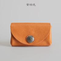 短款钱包女复古纯牛皮男士钱包潮短款多功能卡包零钱包 黄棕色