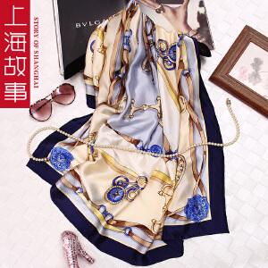 上海故事真丝春秋季女士时尚百搭围巾百变桑蚕丝印花大方巾