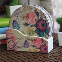 欧式厨房餐桌垫耐热杯垫盘子垫子木质隔热垫碗垫家用6片装送木盒圆形方形花色随机杯垫