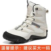 冬季户外雪地靴女防水防滑中筒东北旅游加绒登山滑雪鞋男保暖棉鞋新品