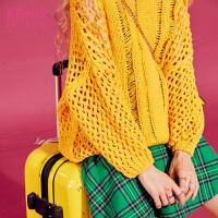 妖精的口袋时空漏洞秋冬装新款宽松V领套头复古纯色毛衣女