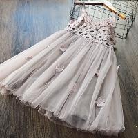 韩国童装女童吊带裙儿童韩版立体花朵连衣裙2018夏季新款公主裙