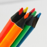 马可黑木铅笔 9205B-06 粗三角6色彩色荧光记号铅笔 环保无毒  附赠转笔刀