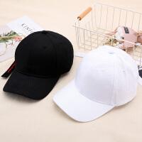 帽子女士夏潮人�n版��舌帽夏季潮棒球帽青年百搭遮�帽黑白嘻哈帽