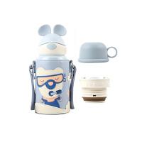 【限时秒杀】杯具熊(BEDDYBEAR)儿童保温杯带吸管316不锈钢双盖两用便携保温壶600ml 3D浮雕硅胶-熊游游
