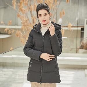 坦博尔2018秋冬新品羽绒服女中老年短款连帽时尚保暖外套 TB18526