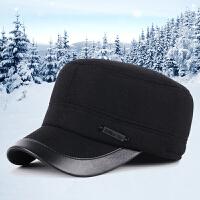 新款男士毛呢平顶帽老头帽秋冬季中老年户外保暖护耳鸭舌帽