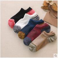 袜子男士棉袜短袜子四季粗线原宿风条纹袜防臭袜日系透气网格短袜