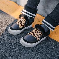 儿童加绒皮鞋2017新款男童皮鞋休闲鞋冬季保暖板鞋宝宝豹纹运动鞋