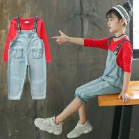 女童牛仔背带裤T恤套装九分裤女童秋装两件套儿童吊带裤