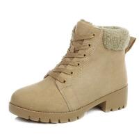冬季马丁靴女英伦风粗跟百搭加绒短靴女学生韩版棉鞋