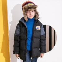 【2件3折到手价:219】小猪班纳童装儿童羽绒服男中长款2019冬装新款中大童加厚连帽外套