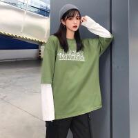 卫衣 女士原宿风慵懒薄款假两件上衣打底衫2020春秋新款女式韩版纯色圆领套头长袖外套