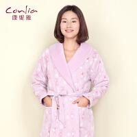 康妮雅冬季新款家居服浴袍 女士奢华优雅长袖夹棉长款睡袍