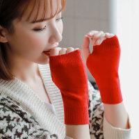 可爱学生半指露指半截时尚情侣防寒保暖羊绒混纺针织毛线手套女