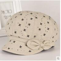 中老年帽子女士贝雷帽韩版时装帽盆帽妈妈帽老人奶奶棉布帽