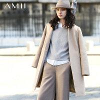 【券后秒杀80元】Amii[极简主义]秋冬装长袖直筒羊毛呢大衣中长款外套