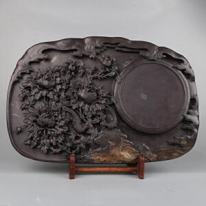 中国非物质文化遗产传承人群 钟景锐作品《花开富贵》砚 麻子坑