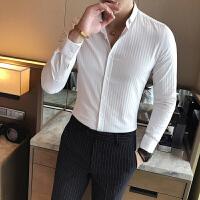 衬衫男长袖修身韩版夜店男士衬衣休闲青年免烫发型师寸衣