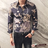2017秋季新款发型师夜店韩版修身花色长袖衬衫青年个性时尚花衬衣