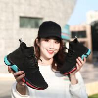 韩版百搭厚底内增高运动鞋ins高帮飞织弹力袜子鞋女休闲短靴