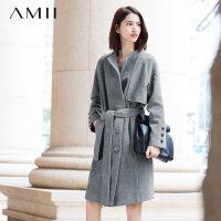 【反季毛呢特卖价:100】Amii[极简主义]秋冬新女宽松大码双排中长款毛呢外套11581260
