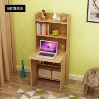 电脑桌 折叠式游戏电脑桌迷你电脑桌折叠电脑桌带书架书柜书桌一体组合卧室简约小户型写字台家用学生W