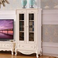 欧式餐边柜实木储物柜小餐厅白色茶水柜现代简约法式田园客厅酒柜 双门